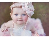 Bow De Ballet, Baby Girl Flower Headband, Christmand Headband, Wedding Headband, Photo Prop, Accessories, Feather Headband, Pink and Taupe