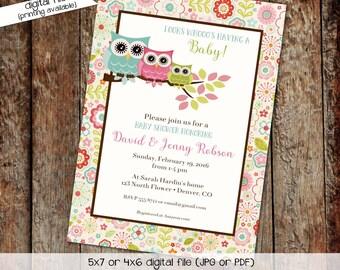 owl baby shower invitation owl first birthday baby girl shower Gender reveal invitation diaper shower (item 147) shabby chic invitations