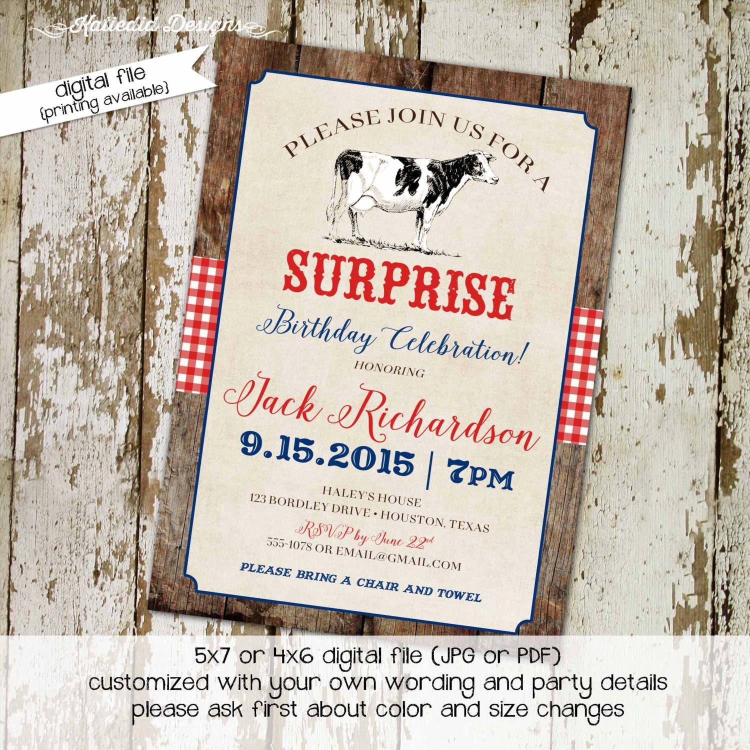 western birthday invitation retirement rehearsal dinner country
