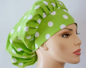 Lime Green Polka Dot Bouffant Surgical Scrub Hat - Lime Green Polka Dots All Over Medical Scrub Hat