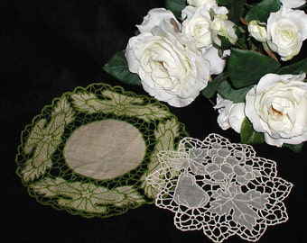 Two Vintage Handmade Needlelace Doilies - Art Nouveau Styled and Fruits
