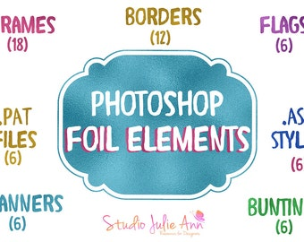 Foil Element Clipart Photoshop Styles Patterns Frames Banners Flags Borders Gold Purple Blue Green Pink psd png SJA164