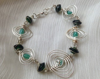 Silver Wire Wrapped Green Glass Bracelet