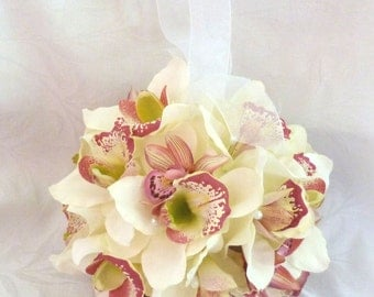 Creme and pink orchid kissing ball orchid pomander wedding flower ball