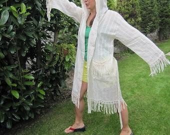 Hooded Fringe women's swim cover up-swimwear-beach dress,peshtemal robe,Turkish Bathrobe,Kimono robes,Bridesmaid gown,Natural Cotton Robes