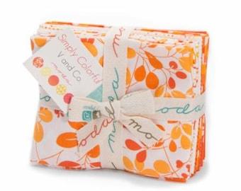 Simply Colorful Orange Fat Quarter Bundle of 10 designed by Vanessa Christensen of V and Co.