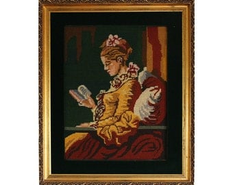 Lovely Gilded Framed Needlepoint Picture of Young Girl Reading
