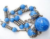 Art Deco Necklace Chrome and Lapis Blue Glass Beads 1920's 1930's