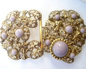 Art Deco Large Buckle Gold Tone Metal and Lilac 1920's 1930's