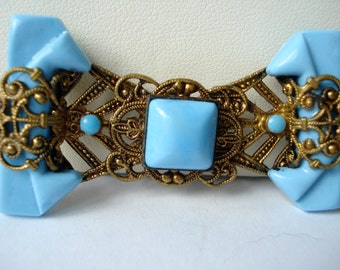 Art Deco Buckle Czech Filigree and Turquoise Blue Glass 1920's 1930's
