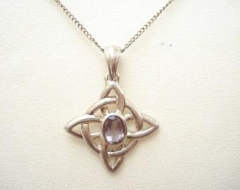Vintage Sterling Celtic Design Pendant with Amethyst Glass