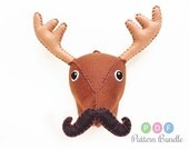 Medium Deer Moose-stachio Sewing Pattern, DIY PDF Felt Stuffed Animal Head With Dapper Bow Tie