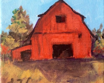 Red Barn Painting rural prairie  Landscape original painting 5 x 5""