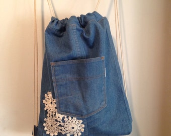 Repurposed Denim Drawstring Backpack with Crocheted Lace and Floral Lining, OOAK, Back to School