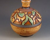 Stoneware Vase With Mosaic Patterns, Texturing, Soft Brown Glaze With Specks, Ready To Ship