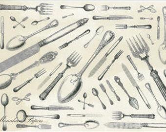 Knife, Fork, Spoon Medley 11x17 Artist Print - Cutlery - Scrapbooking - Decoupage