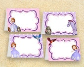 Sofia the First Party Food Labels, Instant Download, Place cards, table tents, Sofia birthday, Sofia the 1st Princess party