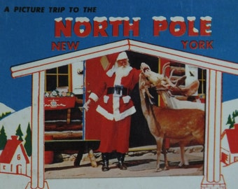 Vintage Spiral Bound - A Picture Trip to the North Pole, New York, A Natural Color Album of Santas Workshop - Postcard