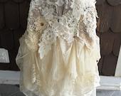 Cream Boho Gypsy Skirt Faerie OOAK Mori Sz M - L