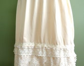 Sweet Ecru and Cream Underskirt Slip Sz M  Upcycled Altered Couture Mori Lagenlook