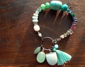 Turquoise Mixed Gemstone Bracelet with Vintage Charms and Tassel - Boho Chic Gypsy Jewelry