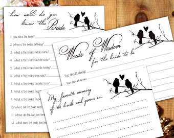 Love Birds Bridal Shower Package - 3 Printable Games - Words of Wisdom, How Well Do You Know The Bride, Favorite Memory