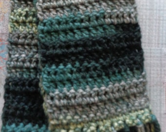 Grey,Turquoise and Dark Blue Multicolor Handmade Crochet Scarf by Pepperland