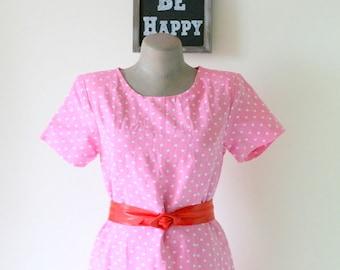 1980s PINK POLKA DOTS Day Dress....size medium large.....pink dress. polka dots. retro. day dress. twiggy. wiggle. twirl. mod. mad men. dots