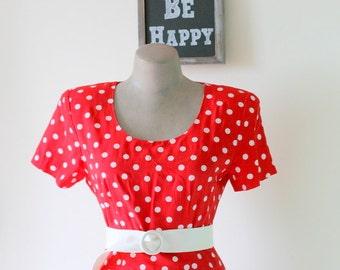 1980s RED POLKA DOTS Dress.....size small to medium....mod. red. polka dots. 1980s dress. retro. bright red lipstick. classic. mini dress