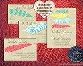 Boho Chic FEATHERS Wedding Invitation Set Diy PRINTABLE Pdf Template Rustic Woodland Modern Elegant Kit Save The Date Online 2015 Trend Idea