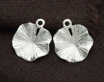 2 of 925 Sterling Silver Lotus Leaf Charms 14mm. Polish Finished :th2338