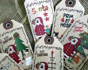 Set of 6 Large 'I love Snow' Christmas Gift Tags and Ribbon