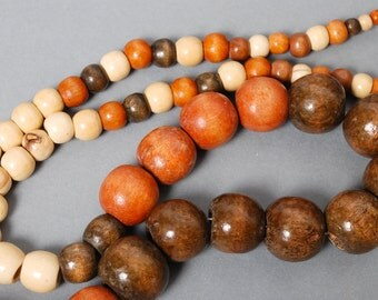 Strap of vintage wood beads, necklace. Wood beads