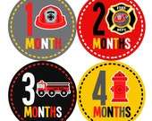 Baby Month Stickers FREE Baby Month Milestone Sticker Baby Monthly Stickers Baby Boy Bodysuit Sticker Baby Gift Black Red Grey Fireman 164B