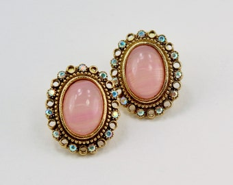 Vintage Signed 1928 Goldtone Pink Quartz Semi Precious Gemstone Oval Stone Aurora Borealis Rhinestone Victorian Revival Pierced Earrings