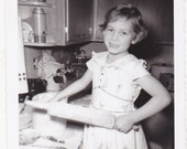 Vintage 1960's Cute young girl with rolling pin DIGITAL DOWNLOAD