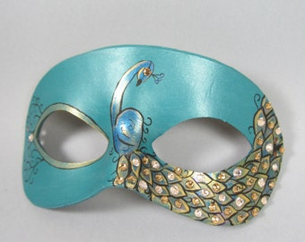 Teal and Gold Peacock Leather Masquerade Mask