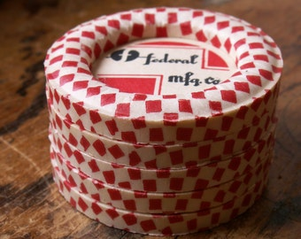 Vintage Waxed Paper Red and White Milk Bottle Caps (Set of 10) - New Old Stock - Great for Projects, Mixed Media!