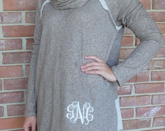 Monogrammed Cowl Neck Tunic