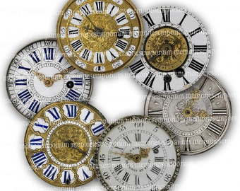 Clock Face Clipart Shabby Chic Antique Watches Clipart Fob Decoupage Magnet Two Inch Circles 2 Timepiece Digital Collage Sheet Download 250