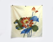 Vintage collectable Jim Thompson cream Thai silk scarf with handprinted lotus flower, signed, hand rolled