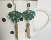 Teal vintage rhinestone statement earrings with gold tone chain tassel
