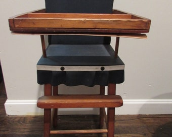 Antique Doll Wooden High Chair