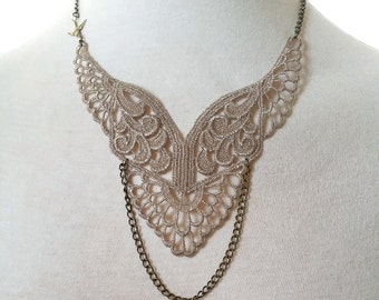 Lace Necklace Fabric Necklace Taupe lace choker Antique brass bird Necklace Statement Necklace Lace wings Bohemian style Rocker Chic