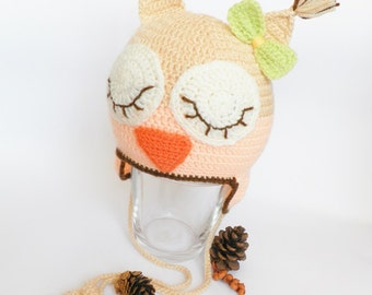 Crochet baby hat, crocheted baby owl hat, hat with earflaps, beige and peach children hat, crocheted winter hat, READY TO SHI