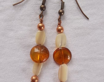 Carnelian Coins With White Mother of Pearl and Copper Earrings