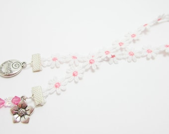 Flower Ribbon Bookmark Pink Butterfly Swarovski Bicones Elements Follow Your Dreams Charm Daisy Ribbon Bookmark