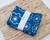 Large Cloth Napkins - Set of 4 - (N915) - Blue Flower Modern Reusable Fabric Napkins