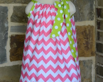 Hot Pink and  Lime Green Polka Dot Pillowcase Dress