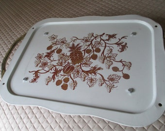 Vintage Metal Lap Tray With Handles and Feet